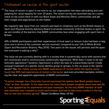 CEO Statement: Racism in the Sport Sector