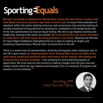 CEO Sporting Equals Statement: Equality of Opportunity in the Sport Sector